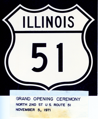 Sign from opening of US 51, November 5, 1971.