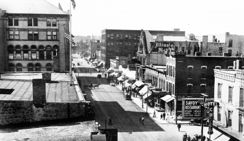 A view of South Main Street towards the south.The Chick House is at the far right. Late 1910s or early 1920s.