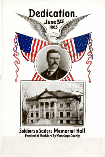 The cover of the program book printed for the dedication in 1903.