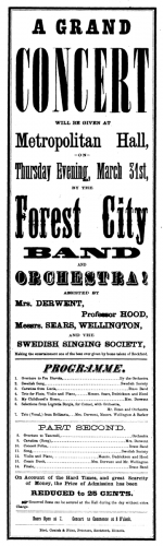 Hand bill advertising a concert at Metropolitan Hall, March 31, 1870. Professor Hood taught music at Rockford Female Seminary (now Rockford University). The Forest City Band was organized in 1867.