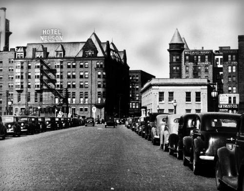 The Nelson Hotel as seen from the Chestnut Street Bridge in the 1940s.