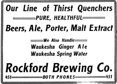 Rockford Brewing Company advertisement, late 19th/early 20th century.