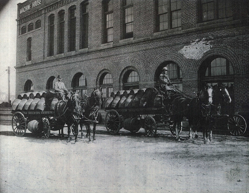 Teamsters ready to deliver barrels of beer, 19th century.