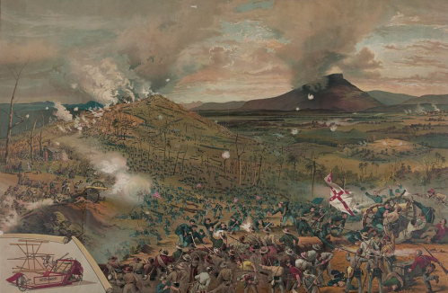 Artistic depictions of the Battle of Missionary Ridge, Chattanooga, Tennessee, November 25, 1863.