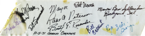 Piece of Ribbon from opening of US 51 signed by Zeke Giorgi, November 5, 1971.