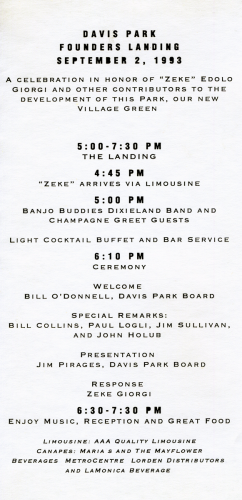 Program to honor Zeke Giorgi for the development of Davis Park, September 2, 1993.