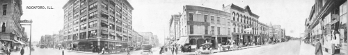 During William Lathrop's time, 302 West State Street was the location of Porter's Drug Store, pictured here. His office was on one of the upper floors. Photo taken in 1920.