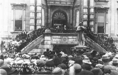 Theodore Roosevelt is introduced to the crowdon the steps of the County Courthouse during the 1912 presidential campaign.
