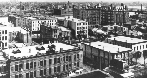 The Rockford skyline showing the Brown Building and the Nelson Hotel, early 20th century. Rockford High School (1885) is in the far distance.