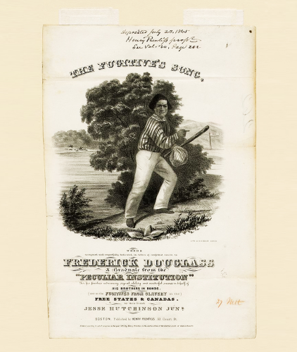 Cover to sheet music commemorating Frederick Douglass' escape from slavery.