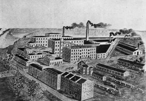 Factories at Emerson, Talcott & Co., successor company to the Manny reaper works. This company eventually became Emerson Brantingham Co. in 1909, which was eventually bought out by J.I. Case in 1928.