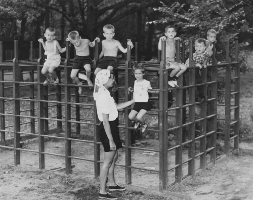 Students on the jungle gym, April 3, 1949.