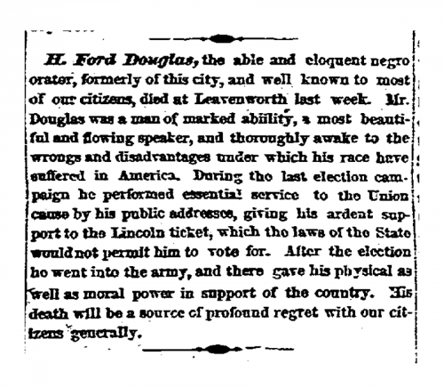 News report of H. Ford Douglass' demise, December 15, 1865.