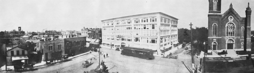 Panoramic view of East State Street, Third and Kishwaukee Street areas in the 1890s.