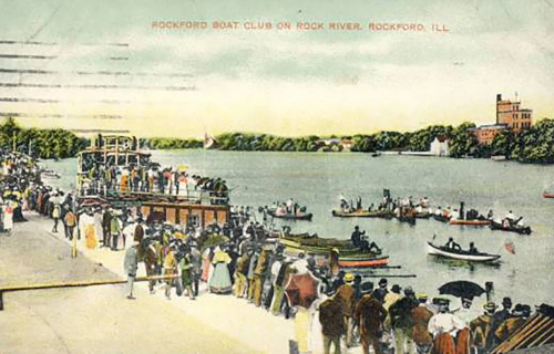 Boaters on the Rock River with the brewery in the background, 19th century.