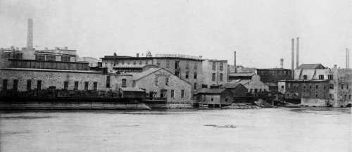 View of the southeast part of the water power district. The power district was established using a series of canals connected to a dam on the Rock River.